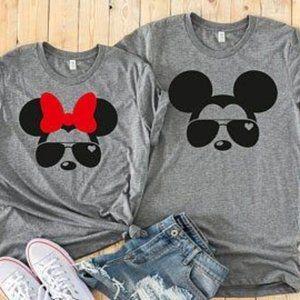 Cool Minnie+Mickey w/Sunglasses Matching T-Shirts